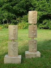 glazed stoneware ceramic garden or yard outside and outdoor sculpture by sculptor mary kaun english