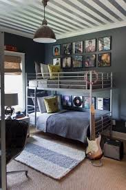 Bedrooms Cool Grey Music Themed Teen Boys Bedroom Design With Grey Iron  Bunk Bed And Industrial