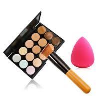 new beauty 15 colors cream mak up set pinceis de maquiagem concealer palette sponge gourd puff powder brush