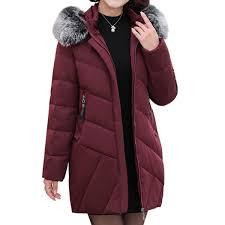 plus size long winter jacket women hooded winter coat women loose parka red wine 5xl