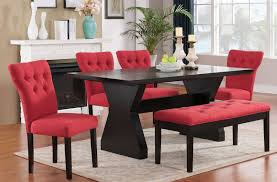acme effie dining room set w red chairs effie collection 5
