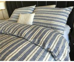 Navy and White Ticking Stripe duvet cover striped linen & NAUTICAL STRIPE NAVY Duvet Cover with striped pillow cover, Navy and Ivory ticking  stripe bedding Adamdwight.com