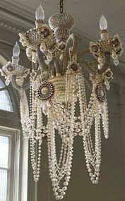 chandelier ivory pearl garland decoration pearl beads centerpiece shabby chic home decor shabby chandelier beads
