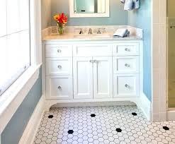 retro black white bathroom floor tile 7 8 9 and yellow accessories
