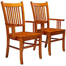 dining arm chairs. Delighful Arm Coaster Set Of 2 Dining Arm Chairs Mission Style Medium Brown Finish For