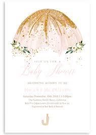 Baby Shower Invitation Cards Pink Umbrella Baby Shower Invitation Glitter Baby Invite