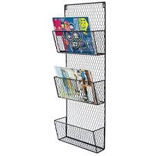 Black Wire Magazine Holder Adorable Amazon 32Tier Black Wall Mounted Metal Chicken Wire Mesh Mail
