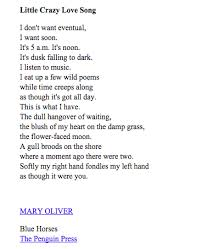 Little Crazy Love Song By Mary Oliver Poetry Pinterest Poetry Beauteous Mary Oliver Love Quotes