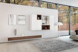 contemporary white living room furniture. Contemporary White Themes Living Room Decors With Wooden Floating Cabinet Storage Added Wall Mounted Tv Stands Also Grey Rugs In Open Views Minimalist Furniture