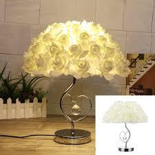 Modern Wood Linen Bedside Minimalist Table Lamp Romantic Rose