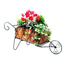 small decorative wheelbarrow planter garden cart planters decorate wood items for the yard wooden wagon metal g