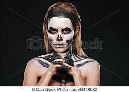 woman with frightening skeleton makeup