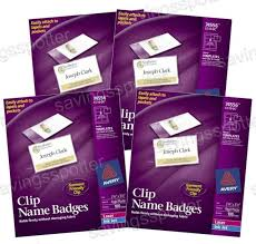 4 Packs Avery Clip Style Name Badges Inserts Rigid Hard Plastic 2 25x3 5 100 Ea