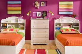 Kids Bedroom With Pink Walls And White Twin Bed Frames - Buying Twin ...