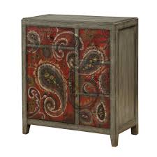 paisley furniture. Hand Painted Red And Gray Paisley Cabinet - Ashbury   RC Willey Furniture Store A