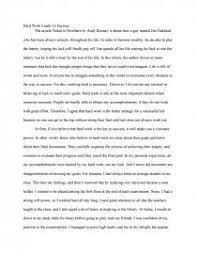 hard work leads to success essay zoom zoom zoom