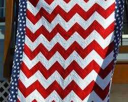 Crushed Velvet American Flag Quilt 48 x 72 Red & American Flag Quilt, Red and White Chevron With Star Border and Backing Adamdwight.com