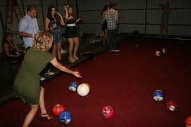 life size pool table you wont believe this life size backyard pool bowling tablegame