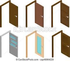 open office doors. Brilliant Open Isometric Door Collection Of Open Doors With Handle Flat 3d  Modern House Or Office And Office