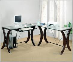 home office desk design idea with glass top black base white computer and printer fabulous black white home office study
