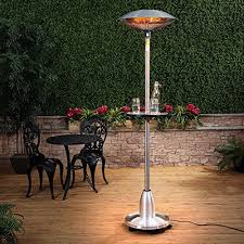 fire mountain floor standing halogen electric patio heater with table 21m high stainless steel 21kw weighted base wheels 10m power cable electric patio heater e14 heater