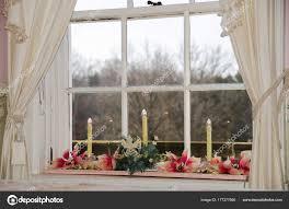 Weihnachtskerzen Und Weihnachtsstern Dekoration Interieur Fenster