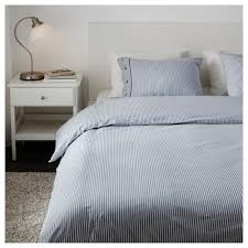 ... Nyponros Quilt Cover And Pillowcases Whiteblue Xx Cm Photo With  Staggering Blue Ticking Bedding For White ...