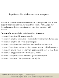 Dispatcher Resume Samples Top 8 Cab Dispatcher Resume Samples