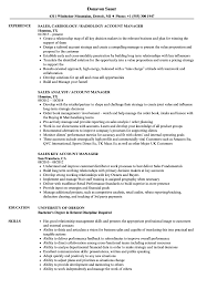 Sales Manager Account Manager Resume Samples Velvet Jobs