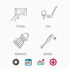 Baseball Signals Chart Baseball Football And Golf Icons Badminton Linear Sign Calendar