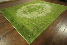 Alternative Views square green dark green center pattern wool carpet white  line luminated room living room