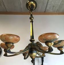 bronze art nouveau chandelier deco uk reion perfect attic find with amber glass shades in chandeliers style lighting tiffany ashville light stained