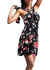 Jusfitsu Women Beach Dress Halter <b>Cotton Mini Summer</b> Dresses ...