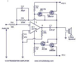 transistor amplifier circuit   watts   electronic circuits and    transistor amplifier circuit  transistor amplifier circuit diagram