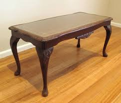 ornate antique coffee table with glass and leather top black ornate coffee table