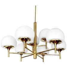 large nine light brass sputnik chandelier pendant light stilnovo gio ponti era for