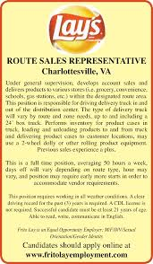 jobs in fredericksburg va route s representative frito lay