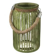 green glass lantern with rope handle to enlarge