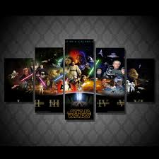 on star wars canvas panel wall art with star wars 5 panel wall decor canvas painting poster
