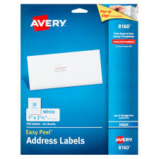 avery sheet labels avery 8160 easy peel white inkjet address labels 750 count walmart com
