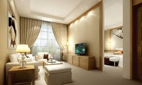 ... Bedroom Decoration  Cozy Living Room Design With Beige Theme Using  Cozy White Sectional Sofa And Square Bunk Also Rectangular Table Complete  With TV ...