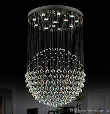 modern staircase led crystal chandeliers lighting fixture for hotel lobby foyer ball shape rain drop pendants chandelier contemporary crystal chandelier lighting e79