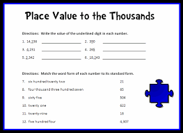 Place Value to the Thousands Place Printable Worksheet with Answer ...