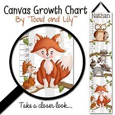Canvas Growth Chart Mommy And Me Woodland Forest Critter