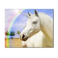 <b>Laeacco</b> Rainbow Unicorn Nordic Fashion Posters Pictures <b>Wall Art</b> ...
