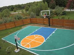 there s aerial view of the half court and pro dunk platinum basketball system