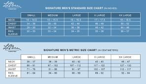 Signature Mens Size Chart