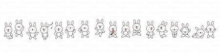 ウサギキャラクターのライン線の無料イラスト素材イラストイメージ