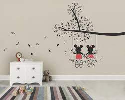 mickey mouse minnie tree swing wall