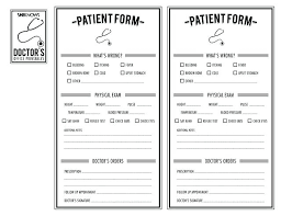 Free For Pretend Play Like Doctors Patient Form I Think My Beginning ...